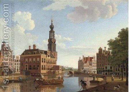The Singel with the Munttoren, Amsterdam by Hendrik Keun - Reproduction Oil Painting