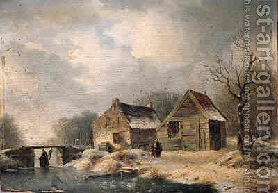 A wooded winter landscape with peasants walking along a frozen waterway by a cottage by Hendrik Manfred Haus - Reproduction Oil Painting