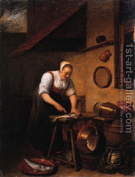 A maid standing by a table cleaning fish, pots, pans and cabbages on a barrel nearby, in a farmyard by Hendrick Maertensz. Sorch (see Sorgh) - Reproduction Oil Painting