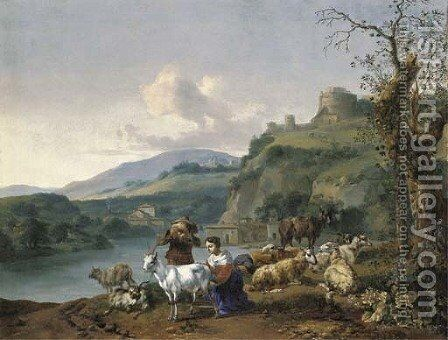 An Italianate river landscape with a shepherd and a shepherdess with their flock, a village beyond beneath a hill with the Mausoleum of Hadrian by Hendrik Mommers - Reproduction Oil Painting