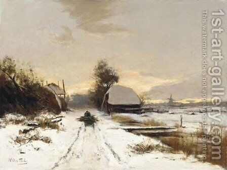 Winter a woodgatherer on a snow covered path at dusk by Hendrik Otto Van Thol - Reproduction Oil Painting