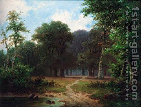 A path through a woodland by Hendrik Pieter Koekkoek - Reproduction Oil Painting