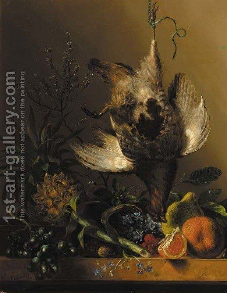 A still life with flowers, tropical fruit and a partridge by Hendrik Reekers - Reproduction Oil Painting