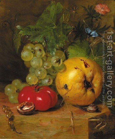 A still life with fruit and insects by Hendrik Reekers - Reproduction Oil Painting