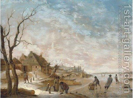 A winter landscape with figures skating on a frozen lake by Hendrik Willem Schweickardt - Reproduction Oil Painting