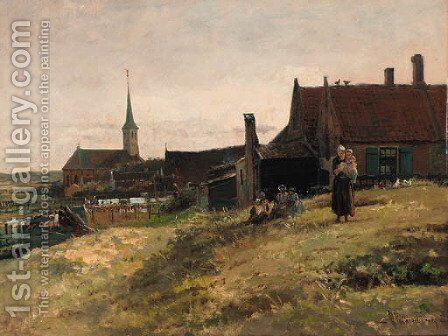 A family before a farm house, Zandvoort by Hendrik Valkenburg - Reproduction Oil Painting