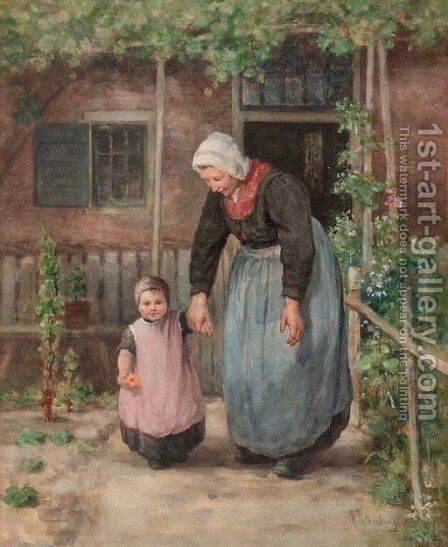Her first steps by Hendrik Valkenburg - Reproduction Oil Painting