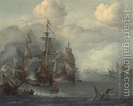 The Battle of The Sound, 29th October, 1650 by Hendrik van Minderhout - Reproduction Oil Painting