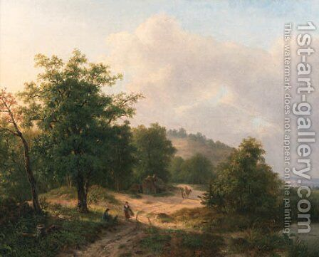 A mountainous wooded landscape with travellers conversing on a sandy track by Hendrik Verpoeken - Reproduction Oil Painting
