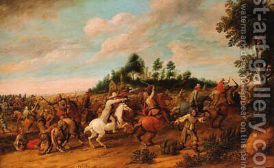 A cavalry battle by Hendrik Vershuring - Reproduction Oil Painting