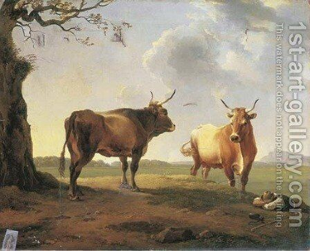 An extensive Italianate landscape at dusk with a shepherd sleeping beside a bull and a cow by Hendrik Voogd - Reproduction Oil Painting