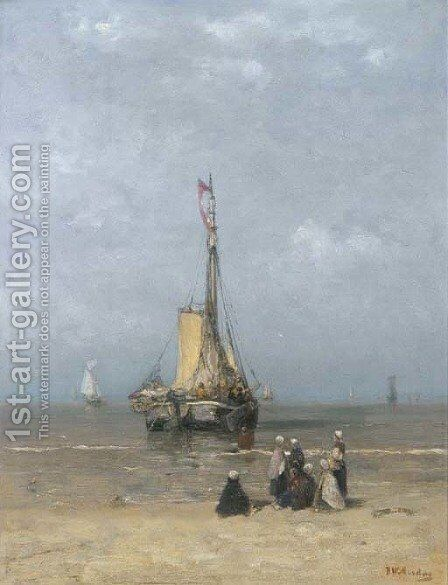 A Bomschuit in the breakers on a calm day by Hendrik Willem Mesdag - Reproduction Oil Painting