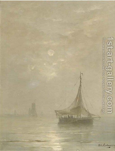 A calm bomschuiten at sea on a hazy afternoon by Hendrik Willem Mesdag - Reproduction Oil Painting