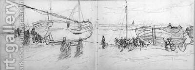 A sketchbook containing 25 studies of the fishing fleet of Scheveningen, figures, skies, all executed in pencil signed on the flap HW Mesdag and two p by Hendrik Willem Mesdag - Reproduction Oil Painting