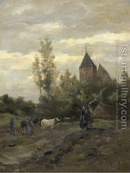 A view on the church of Vries, Drenthe by Hendrik Willem Mesdag - Reproduction Oil Painting