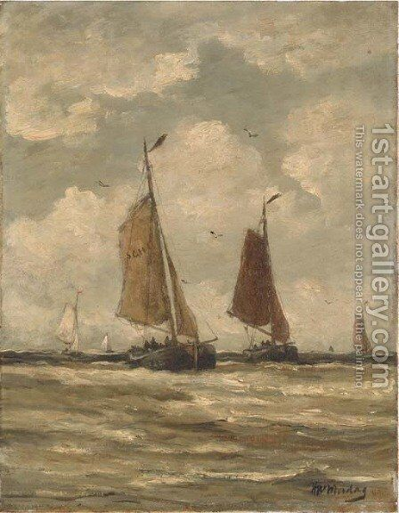 Bomschuiten at sea, Scheveningen by Hendrik Willem Mesdag - Reproduction Oil Painting