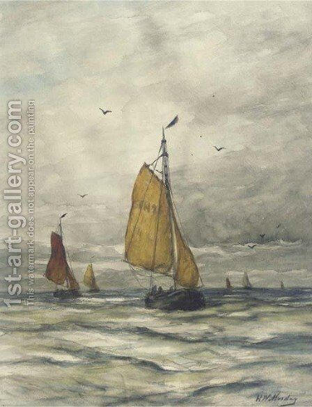 Bomschuiten on open sea by Hendrik Willem Mesdag - Reproduction Oil Painting
