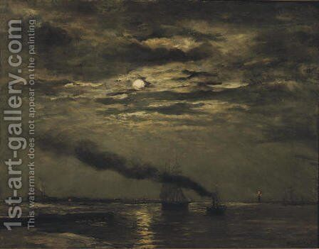 Maaneffect entering the harbour by moonlight by Hendrik Willem Mesdag - Reproduction Oil Painting