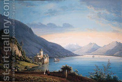 A View of the Lake of Geneva, with people near a vineyard in the foreground looking at sailing-boats and a castle beyond by Henri Knip - Reproduction Oil Painting
