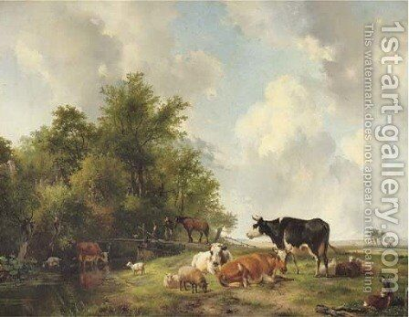 Cattle on the edge of a forest in an extensive sunlit landscape by Hendrikus van den Sande Bakhuyzen - Reproduction Oil Painting