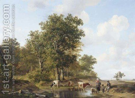Peasants conversing at the edge of a forest on a sunny day by Hendrikus van den Sande Bakhuyzen - Reproduction Oil Painting