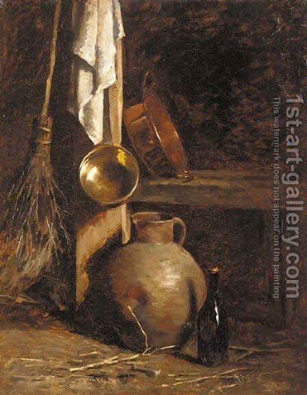 An earthenware jug, a bottle, copper pans and a broom in the corner of a barn by Henri Adolphe Laissement - Reproduction Oil Painting