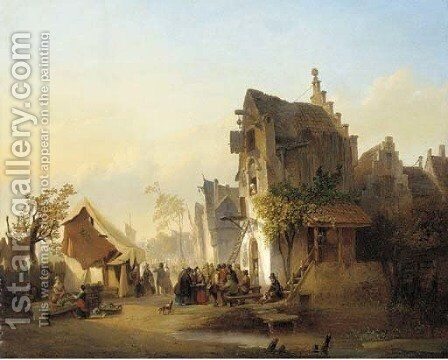 A gathering outside a Dutch hostelry by Henri Adolphe Schaep - Reproduction Oil Painting