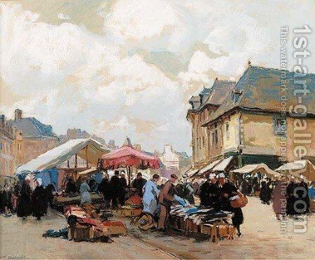 Market day, France by Henri Alphonse Barnoin - Reproduction Oil Painting