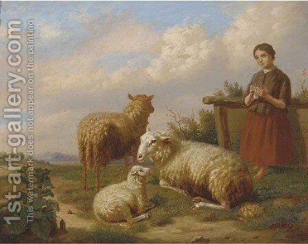 Watching over the flock by Henri Baert - Reproduction Oil Painting
