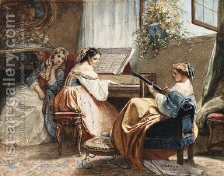 An afternoon of song by Henri Baron - Reproduction Oil Painting