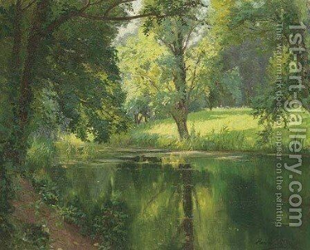 A quiet stretch of the river by Henri Biva - Reproduction Oil Painting