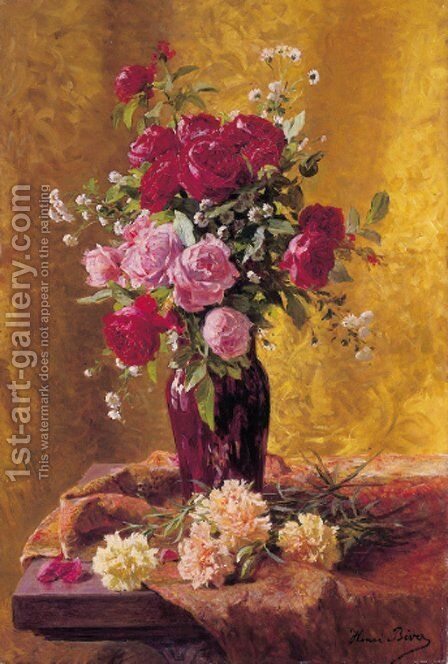 A vase of roses with carnations on a draped table by Henri Biva - Reproduction Oil Painting