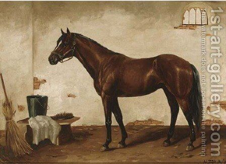 A bay hunter in a stable by Henri Braun - Reproduction Oil Painting