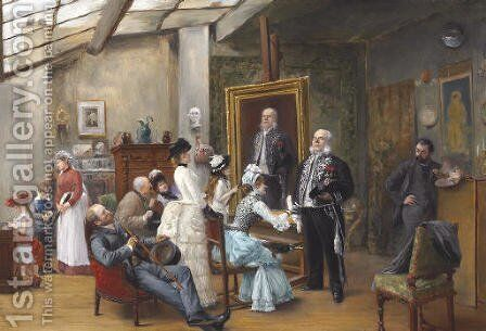 In the Artist's Studio by Henri Brispot - Reproduction Oil Painting