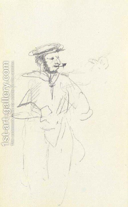Marin fumant by Toulouse-Lautrec - Reproduction Oil Painting