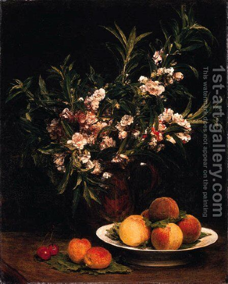 Nature morte (Balsamines, pches et abricots) by Ignace Henri Jean Fantin-Latour - Reproduction Oil Painting