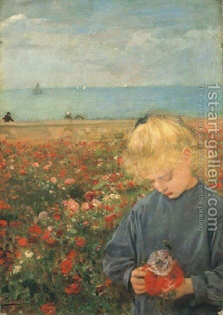 Fillette dans un champ de coquelicots by Henri Gervex - Reproduction Oil Painting