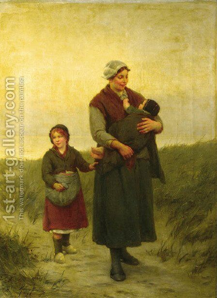 A mother and her children returning home by Henri Jacques Bource - Reproduction Oil Painting