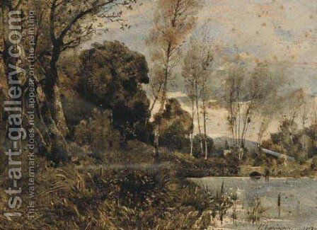 A white castle seen from a lake-side by Henri-Joseph Harpignies - Reproduction Oil Painting