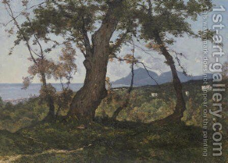 A Wooded Landscape with a View of the Mediterranean Sea beyond by Henri-Joseph Harpignies - Reproduction Oil Painting