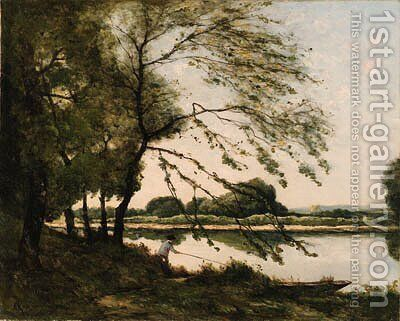 Fishing on the Banks of a River by Henri-Joseph Harpignies - Reproduction Oil Painting