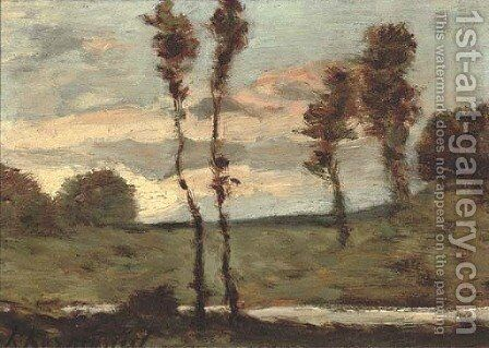 Paysage au couche de soleil by Henri-Joseph Harpignies - Reproduction Oil Painting