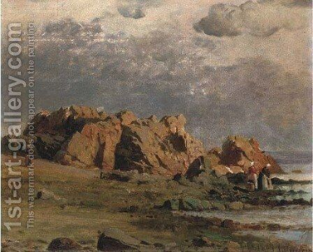 Washerwoman on the shore by Henri-Joseph Harpignies - Reproduction Oil Painting