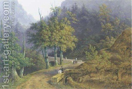 A mountainous wooded landscape with a draughtsman seated on a bridge and other figures strolling on a path by Henri Knip - Reproduction Oil Painting