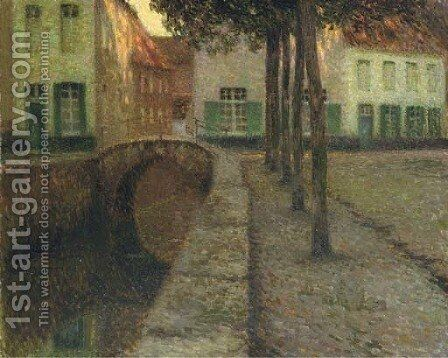 Le canal by Henri Eugene Augustin Le Sidaner - Reproduction Oil Painting