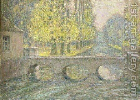 Le pont, Gisors, automne by Henri Eugene Augustin Le Sidaner - Reproduction Oil Painting