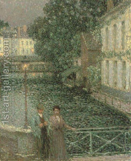 Les amoureux, Gisors by Henri Eugene Augustin Le Sidaner - Reproduction Oil Painting