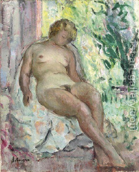 Femme nue assise by Henri Lebasque - Reproduction Oil Painting