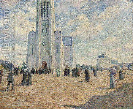 La place de l'eglise, Bretagne by Henri Lebasque - Reproduction Oil Painting