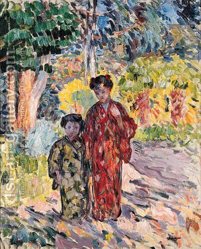 Marthe et Nono en Japonaises (Marthe and Nono dressed in Japanese Clothes) by Henri Lebasque - Reproduction Oil Painting